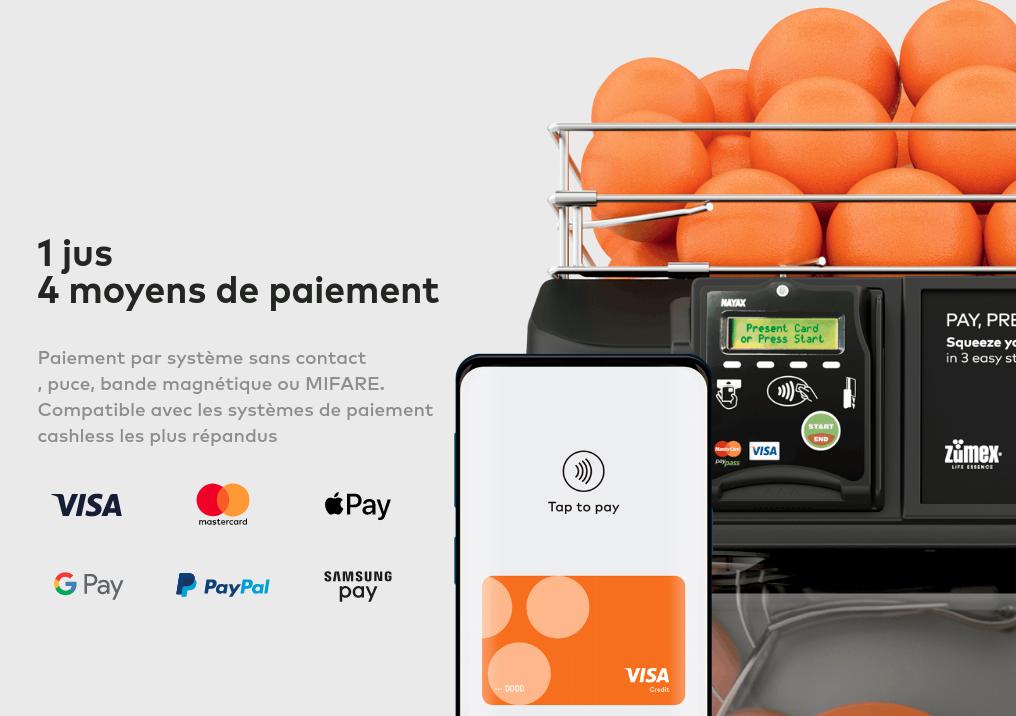Zumex Versatile Pro Cashless 1 jus 4 moyens de paiement